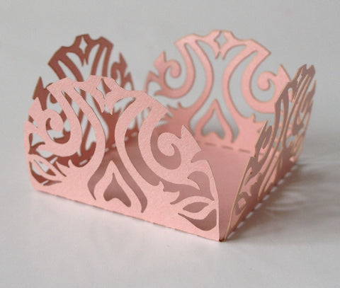 10 pcs Mini (Small) Pink Scroll Lace Baklava Truffle Wrappers