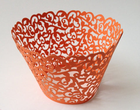 12 pcs MINI (Small) Orange Coral Filigree Lace Cupcake Wrappers