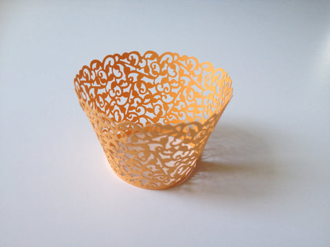 12 pcs MINI (Small) Yellow Orange Coral Filigree Lace Cupcake Wrappers
