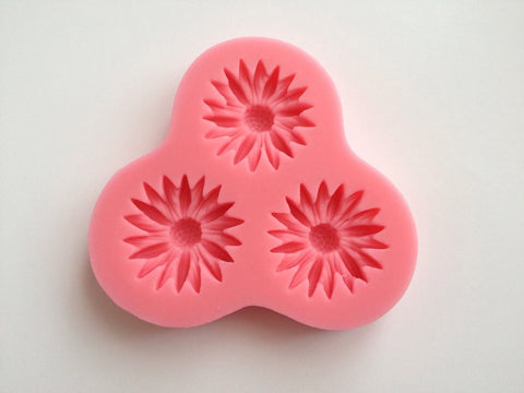 3 Small Sunflower Flower Leaf Soft Silicone -Unbranded