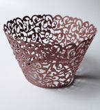 12 pcs Bronze Brown Filigree Classic Lace Cupcake Wrappers