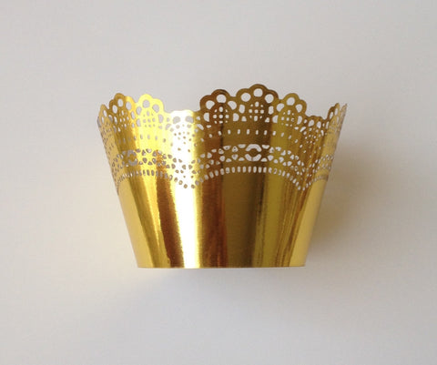 12 pcs Metallic Gold Crochet Cupcake Wrappers