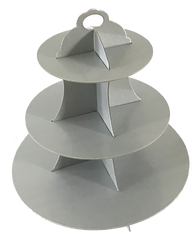3 Tier Light Grey Cupcake Stand Cardboard Wedding Party