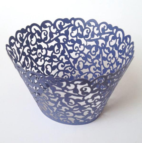 12 pcs MINI (Small) Navy Blue Filigree Lace Cupcake Wrappers