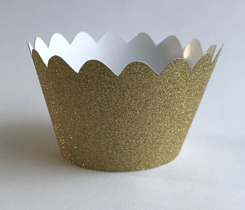 12 pcs MINI (Small) Glitter Gold Scallop Cupcake Wrappers