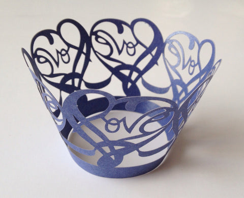 12 pieces Royal Blue Love Heart Cupcake Wrappers