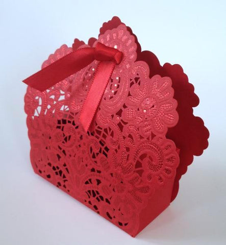 10 pcs Beautiful Red Crochet Lace Wedding Favors Favour Candy Package Box Boxes Almond Sweet