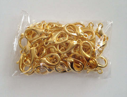 50 pcs Gold Plated Lobster Clasps Fastener Jewelry Hook Claw 14mm X 7mm #77