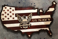 Imagine of USA shaped wood with stripes and US Navy logo and wording