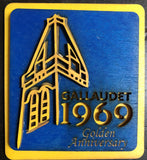 "Yellow and royal wooden magnets with laser cut of Gallaudet Tower Clock and 1969 with Engraved ""Golden Anniversary"" at bottom"