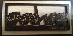 "Wooden Magnet with dark wood layer of handshape ""ASLTA"" along with Engraved ""Thank You!"" at bottom"