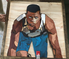 A woodcut picture of black man getting ready to race