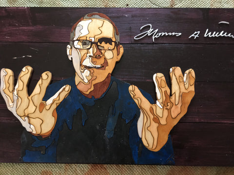 Woodcut picture of Thomas Williamson and his personal signature before framing