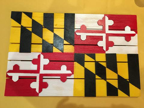 Wooden sign of MD flag