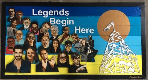 """4 x 2 feet wooden sign of 20 different deaf leaders, either Gallaudet faculty or alumni with woodcut Tower Clock with wood cut wording, """"Legends Begin Here"""""""