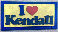 "Image of Cardboard Colorful sign with ""I (heart) Kendall"""