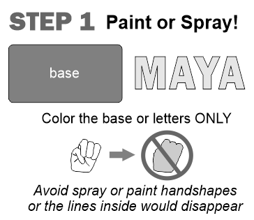 "Importance of spraying paint over parts EXCEPT handshapes or they will not appear to be ""readable"""