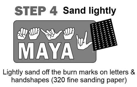 "After drying time, grab a sanding paper (320 fine works great) to lightly sand the parts to remove ""burn marks"""