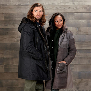 Grey Knit Jacket with Blue Iris Mink Trim and Men's Black Down Parka with Shearling Trim