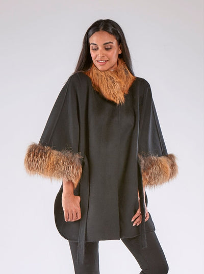 Salma Black Wool with Red Fox Trim Cape - The Fur Store