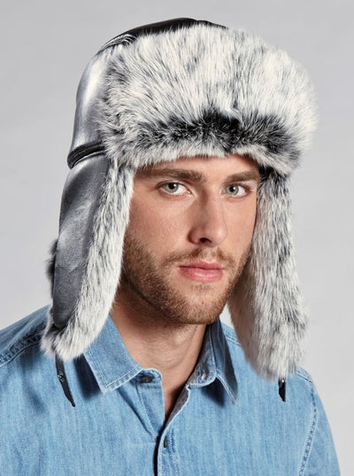 Dominic Men's Leather Snow Top Rabbit Trapper Hat - The Fur Store