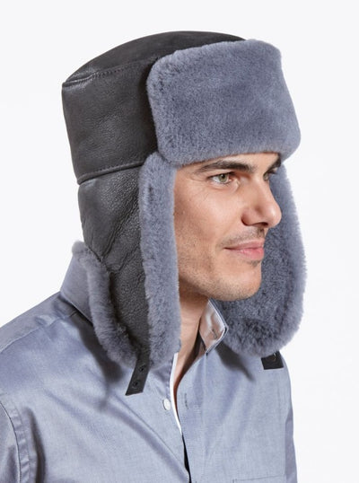 Jordan Grey Russian Ushanka Shearling Hat - The Fur Store