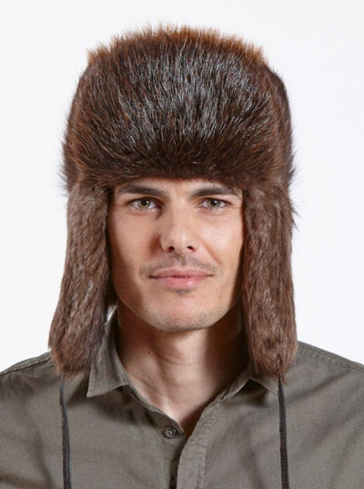 Avery Men's Brown Long Haired Beaver Trapper Hat - The Fur Store