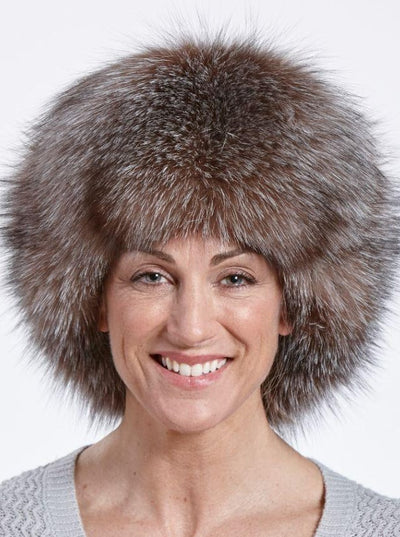 Cameron Women's Crystal Fox Leather Trapper Hat - The Fur Store