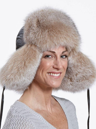 Cameron Women's Blush Fox Leather Trapper Hat - The Fur Store
