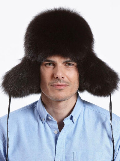 Cameron Men's Brown Fox with Leather Trapper Hat - The Fur Store