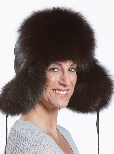 Cameron Women's Brown Fox Leather Trapper Hat - The Fur Store