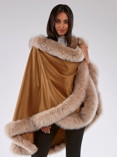 Grace Camel 100% Cashmere with Blush Fox Trim Cape - The Fur Store