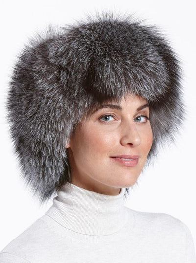 Cameron Women's Indigo Fox with Leather Trapper Hat - The Fur Store