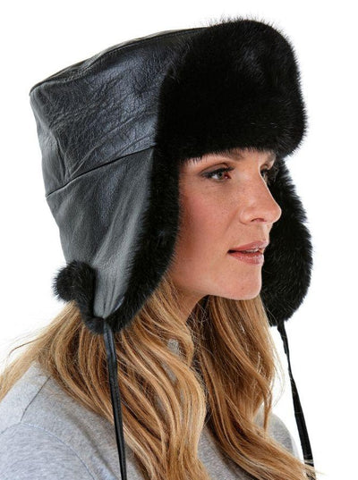 Jesse Women's Black Mink with Leather Trapper Hat - The Fur Store