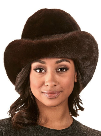 Sasha Women's Mahogany Mink Brim Hat - The Fur Store