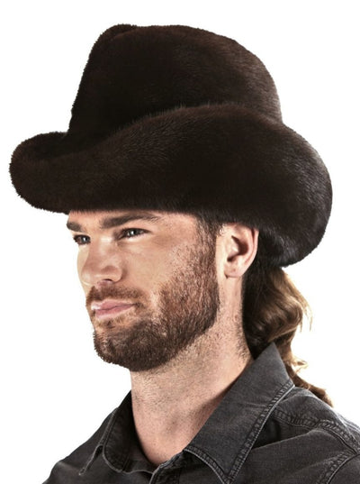 Men's Cowboy Brown Mink Hat - The Fur Store