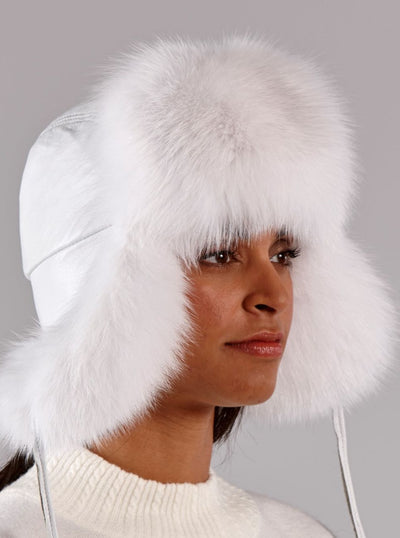 Cameron Women's White Fox Leather Trapper Hat - The Fur Store