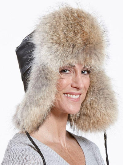 Jesse Women's Coyote with Leather Trapper Hat - The Fur Store