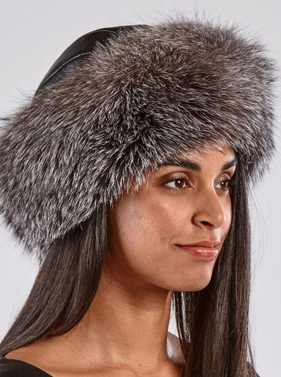 Emma Women's Indigo Fox Hat with Leather Top - The Fur Store