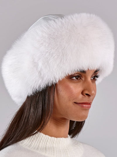 Emma Women's White Fox Hat with Leather Top - The Fur Store