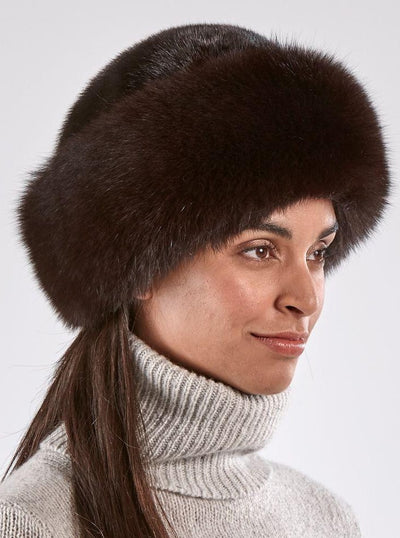 Emma Women's Brown Fox Hat with Mink Top - The Fur Store