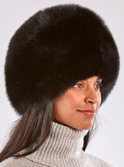 Sofia Russian Black Fox Hat - The Fur Store