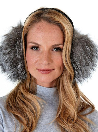Rebekah Indigo Fox Earmuffs - The Fur Store