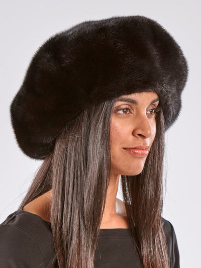 Claire Black Beret Mink Hat - The Fur Store