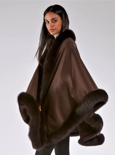 Grace Brown 100% Cashmere with Brown Fox Trim Cape - The Fur Store
