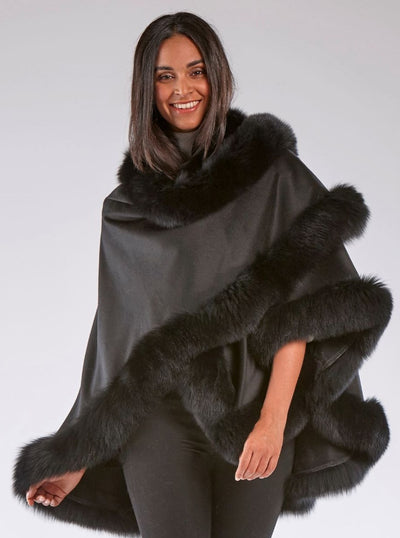 Grace Black 100% Cashmere with Black Fox Trim Cape - The Fur Store