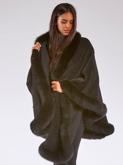 Grace Black Alpaca with Black Fox trim Cape - The Fur Store