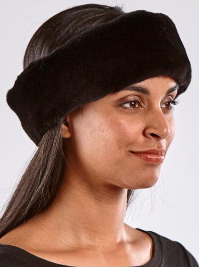 Maria Black Sheared Mink Headband - The Fur Store