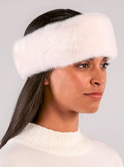 Maria White Mink Headband - The Fur Store