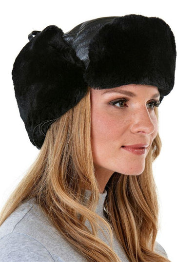 Harper Women's Black Sheared Beaver with Leather Hat - The Fur Store